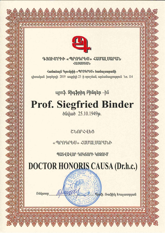 Prof. Siegfried Binder - Doctor Honoris Causa