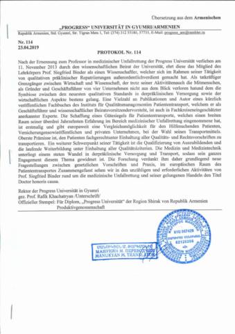 Prof. Siegfried Binder - Doctor Honoris Causa - Protokol